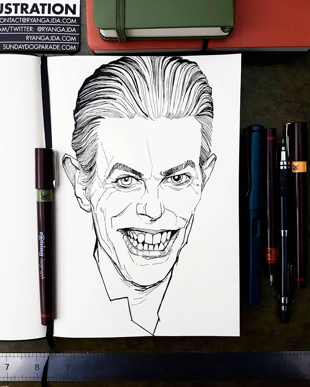 David Bowie teeth drawing
