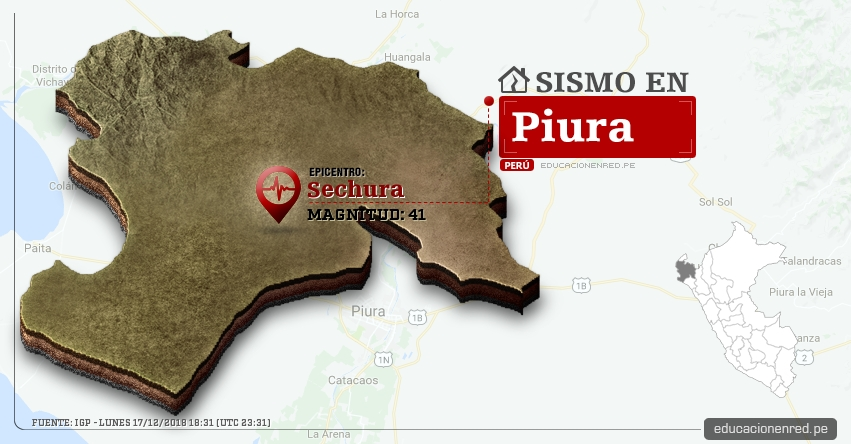 Temblor en Piura de Magnitud 41 (Hoy Lunes 17 Diciembre 2018) Sismo Epicentro Sechura - IGP - www.igp.gob.pe