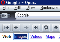 thick and rounded bluish focus of Opera browser