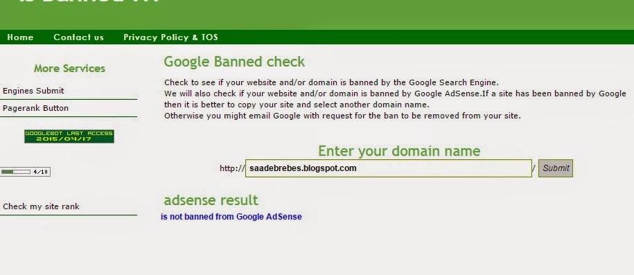 Cara mudah cek blog yang di banned google adsense