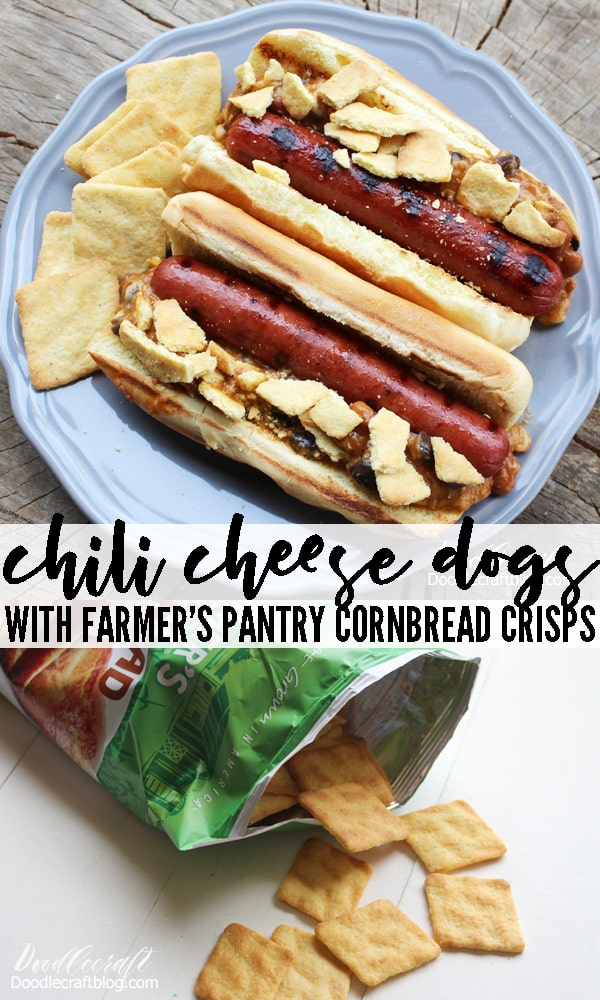 Chili cheese dogs topped with crisp honey butter Farmer's Pantry cornbread crisps.
