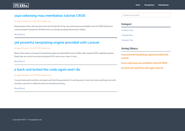 source code website menggunakan framework laravel