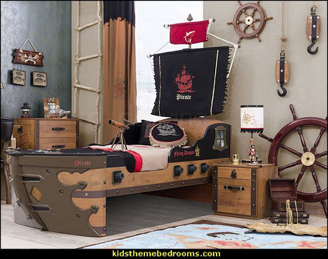 Boat Pirate Ship Bed  kids theme beds - childrens theme beds - themed beds - kids beds - themed toddler beds - unique furniture - castle loft beds - castle beds - animal beds - car beds - boat beds - train bed - airplane bed - batman bed - princess beds -  fantasy beds - playroom beds -
