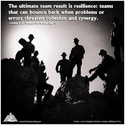 The ultimate team result is resilience: teams that can bounce back when problems or errors threaten cohesion and synergy. - Leading in the Wildland Fire Service, p. 55 (firefighters resting on rocks)
