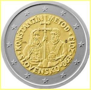 2 Euros Eslovaquia 2013: Cirilo y Metodio Diseño 2
