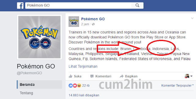 Pokémon Go Resmi di Indonesia (tersedia di google play store)