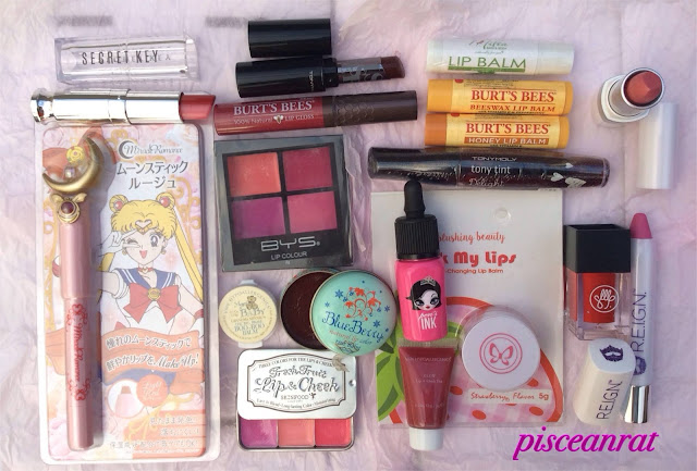 pisceanrat lipstick collection, Miracle Romance Sailor Moon by Creer Beaute, Secret Key Sweet Glam Two Tone, Tony Moly Kiss Lover and tony tint, VMV Grandma Minnie Boo Boo (used as lip balm) and GLOW Lip Cheek Tint, BYS Lip Color Quad, dearberry BlueBerry tint balm, SkinFood Fresh Fruit Lip Cheek, peripera peri's ink, Burt's Bees lip gloss and lip balm, Milea lip balm, Blushing Beauty Lick My Lips, Son & Park Color Cube, REIGN (Ms. America) lipstick and lip crayon.