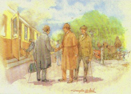 A Douglas West watercolour of Holmes meeting an inspector at the rail station