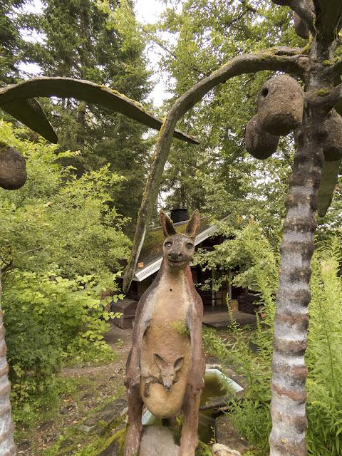 Kangaroo sculpture at the Parikkala Sculpture Park roadside attraction in Finland