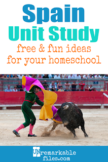 This Spain unit study is packed with activities, crafts, book lists, and recipes for kids of all ages! Make learning about Spain in your homeschool even more fun with these free ideas and resources. #spain #homeschool