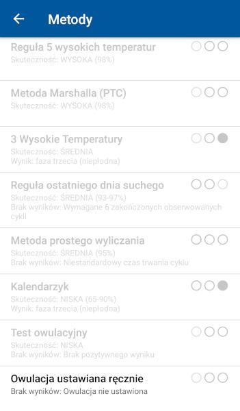 [Zdjęcie listy metod w aplikacji OvuView]