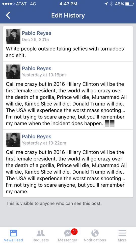 """Pablo Reyes, person who """"accurately predicted"""" world events, is sham"""