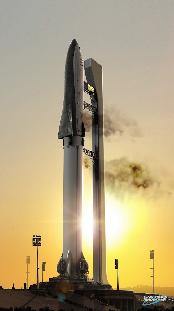 SpaceX Big Falcon Rocket (BFR) before launch by Gravitation Innovation