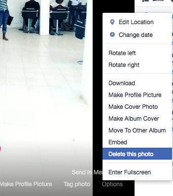 How to delete Facebook Photo