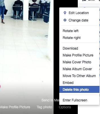 How to delete Facebook Photo