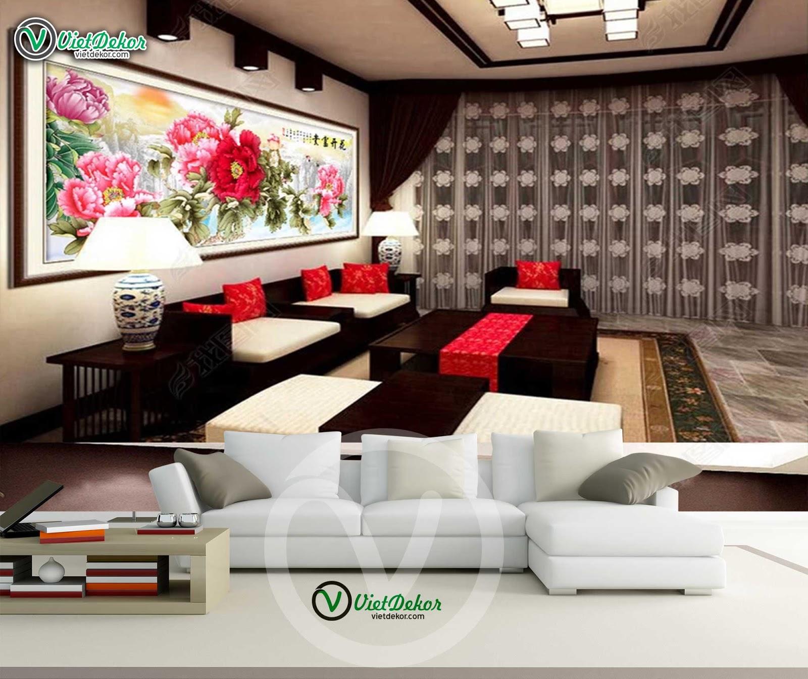 Tranh treo tường hoa mẫu đơn cho phòng khách phòng ngủ