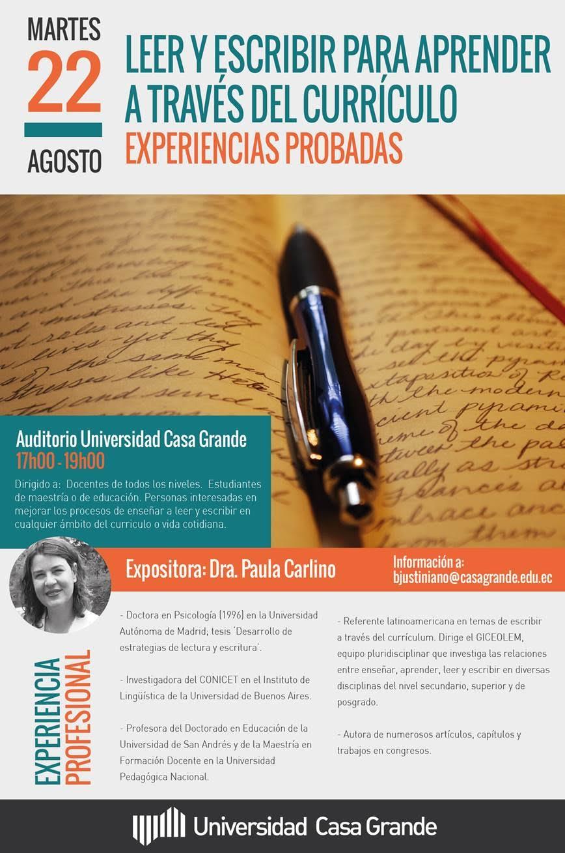 """Blog del Profesor Nelson Vargas: Conferencia: """"Leer y escribir para ..."""