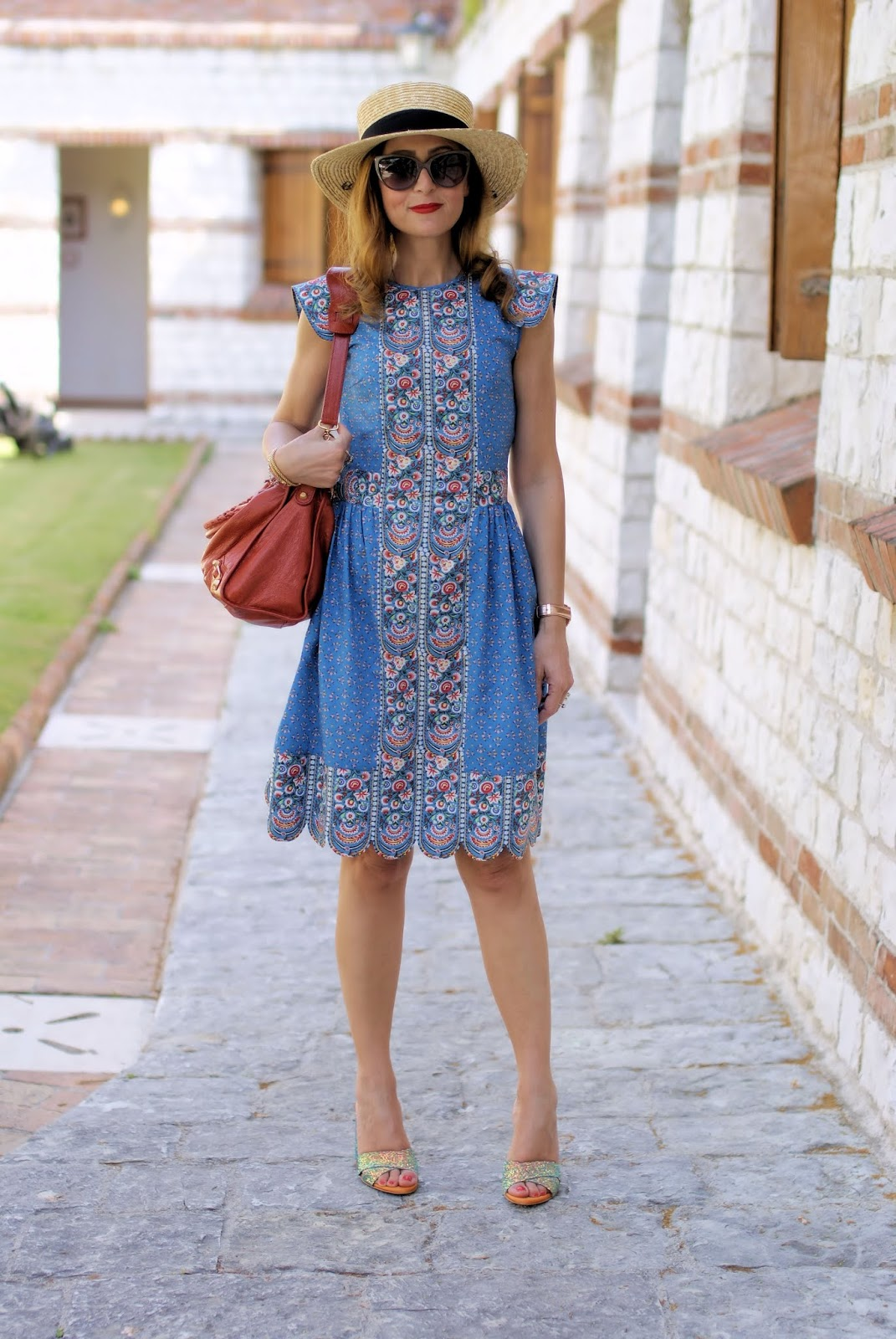 Vintage folk style summer dress with matryoshka print on Fashion and Cookies fashion blog, fashion blogger style
