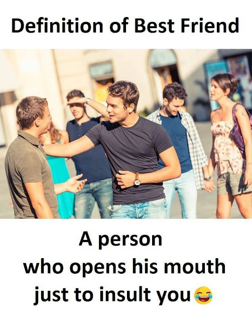 Definition of Best Friend, A person who opens his mouth just to insult you.