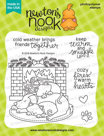 Cat and Dog by Fireplace | Fireside Friends stamp set by Newton's Nook Designs #newtonsnook