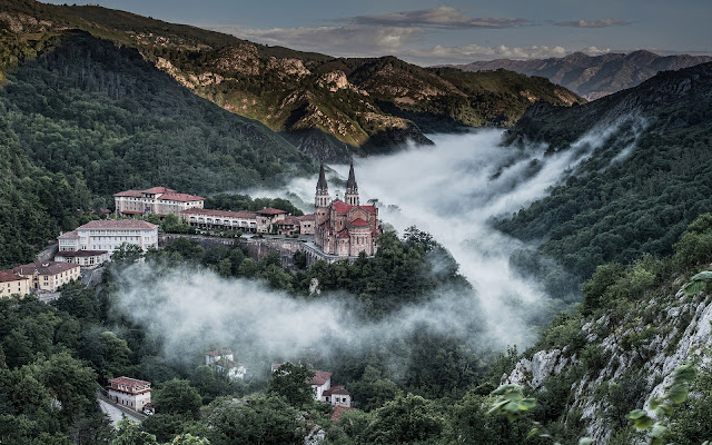 Covadonga Monastery Asturias Wonderful Beauty View Spain HD Desktop Wallpaper