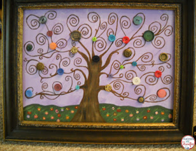 DIY Tree Painting: Step by step directions to create a button tree!
