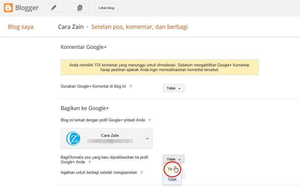 Cara Share Posting Blog Otomatis Ke Google Plus Terbaru Cara Zain