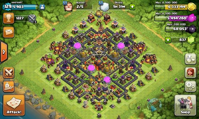 Desain Base Pertahanan Terbaik Untuk Base War TH 10 Update Terbaru 24