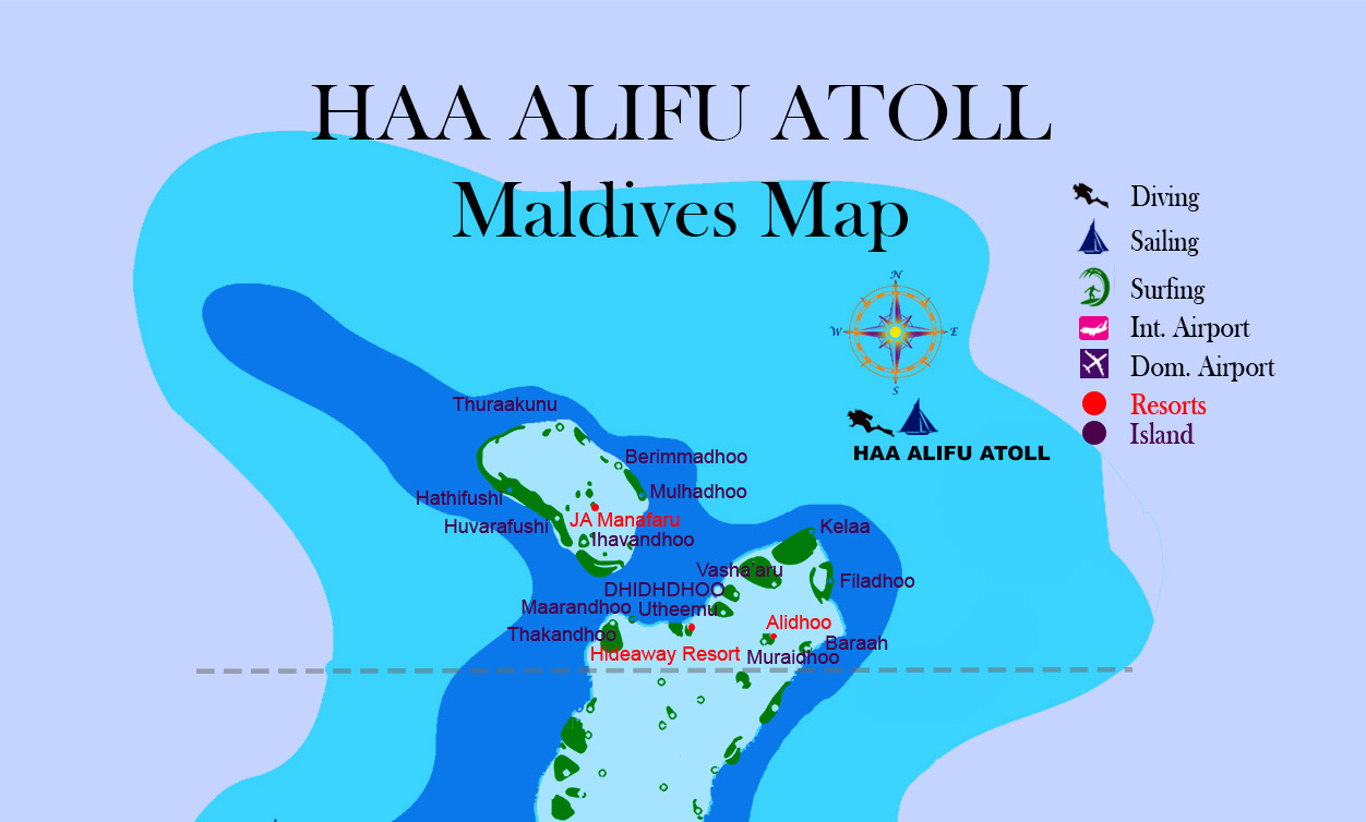 Maldives map Haa Alifu atoll with Island name resorts and hotel