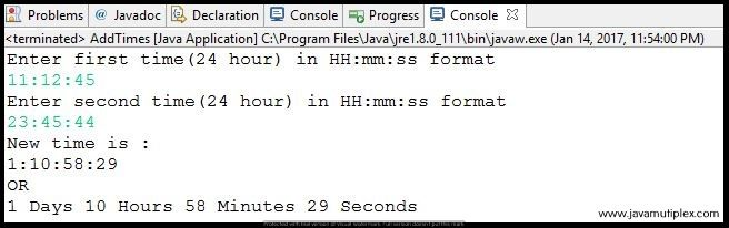 Output of Java program that adds two given times in HH:mm:ss format.