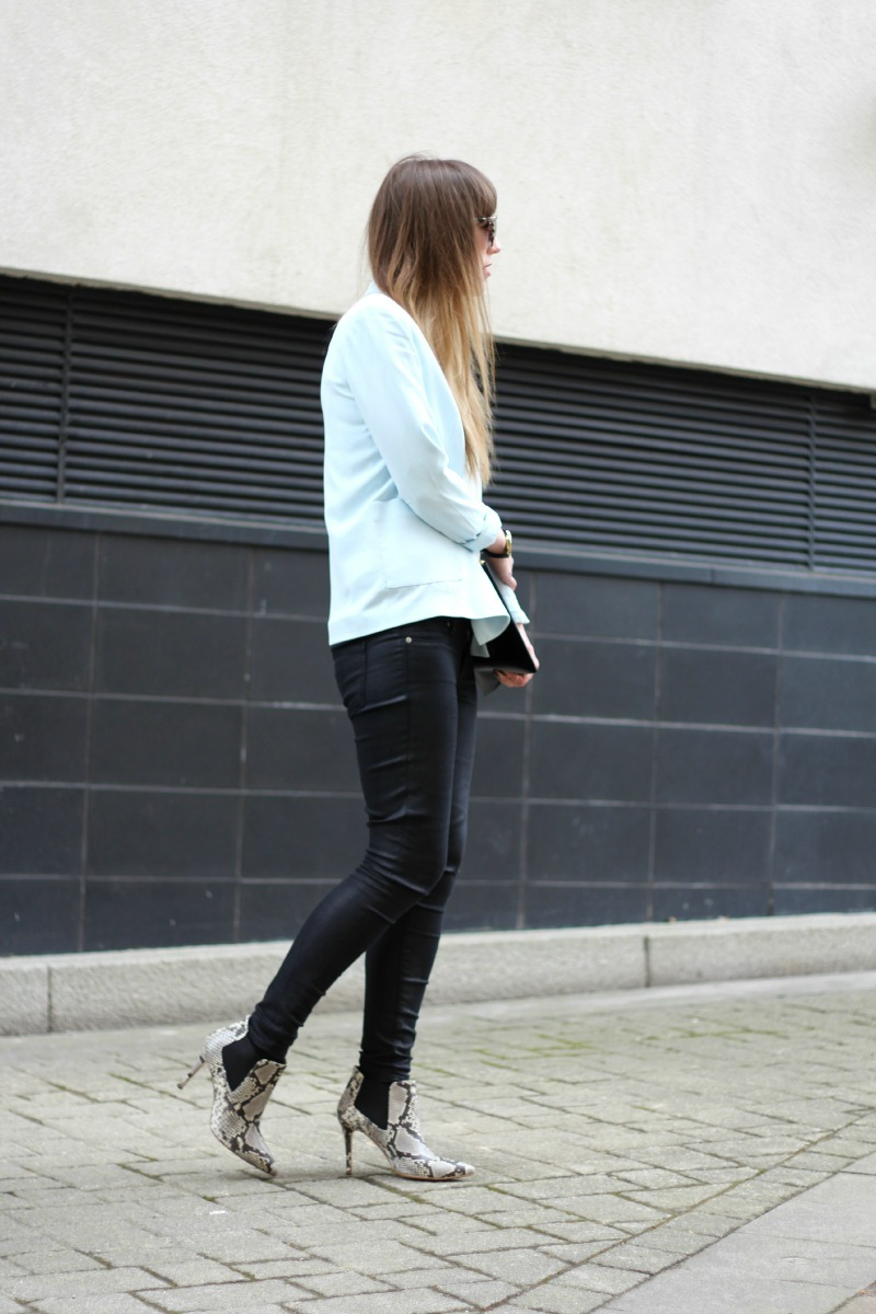 reiss blue blazer paige verdugo jeans snake print boots