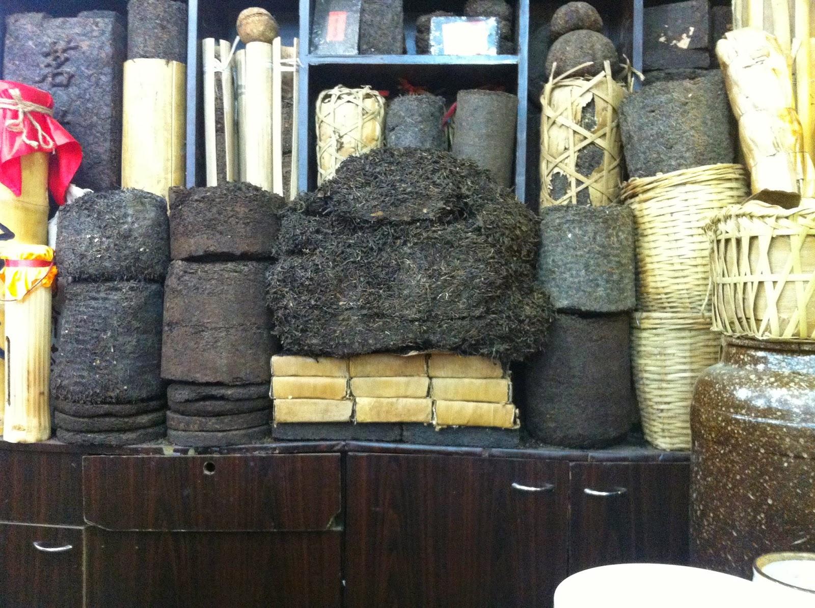 Piles and piles of Pu'er tea in Kunming, China