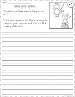 Free Opinion Writing Worksheet: Would you rather meet a fairy or an elf?