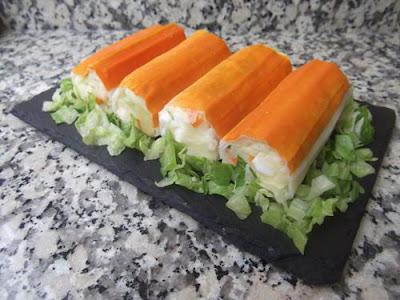 Rollitos de surimi rellenos de patata