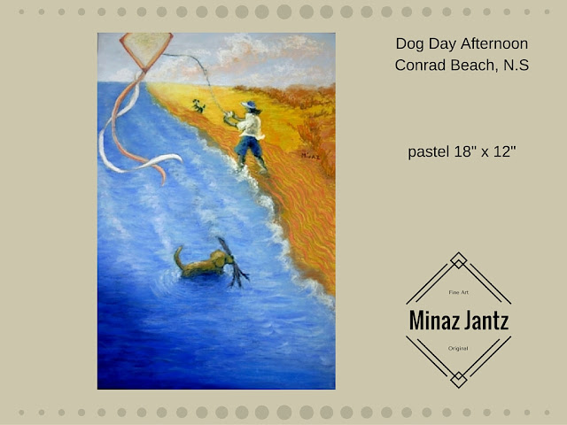'Dog Day Afternoon', pastel by Minaz Jantz Inspired by walking on Conrad Beach, Nova Scotia