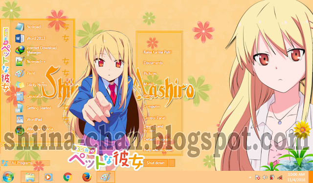 Tema Windows 7 Shiina Mashiro (Sakuraou no Pet na Kanojo)
