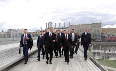 Vladimir Putin visiting the new Zaryadye Park. With Moscow Mayor Sergei Sobyanin.