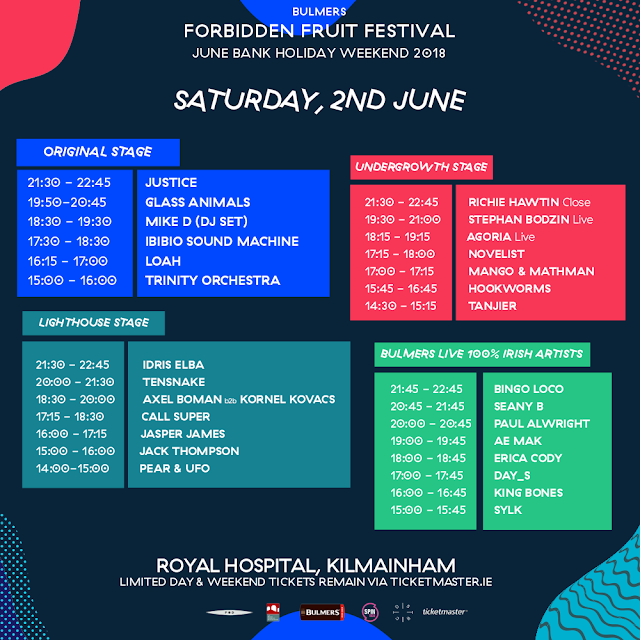 FORBIDDEN FRUIT 2018 Saturday - Stage Times