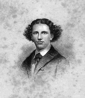 A portrait of a young man with curling hair.