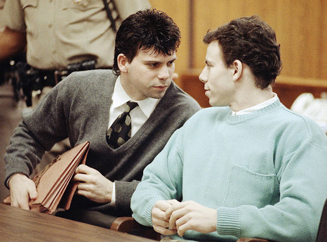 Lyle Menendez, Erik Menendez during the trial for murdering their parents