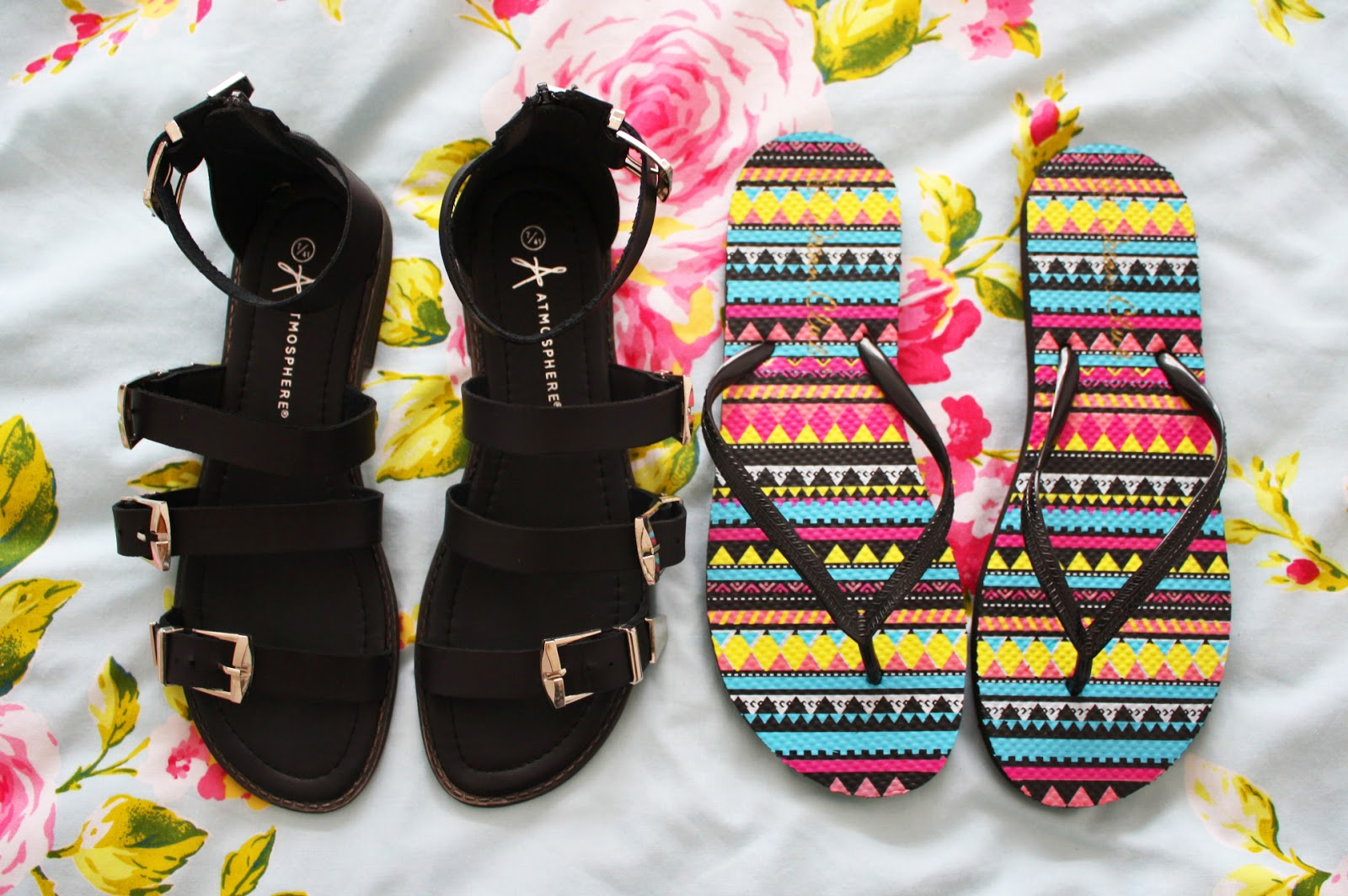 Gladiator sandals and aztec flip flops
