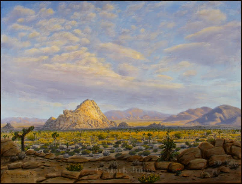 Joshua trees, Joshua Tree National Park, sunset, distance, space, Mojave, desert, clouds, cloud shadows, painting, art, traditional, classical, realism