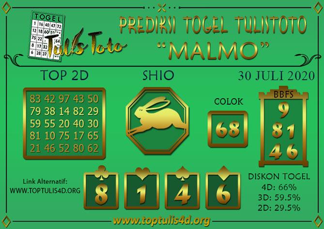 Prediksi Togel MALMO TULISTOTO 30 JULI 2020