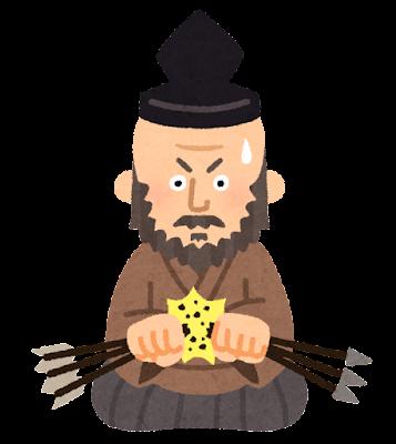 毛利元就の似顔絵イラスト(折れる3本の矢)