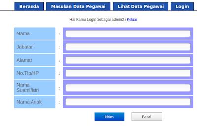 Halaman untuk memasukan data Pegawai