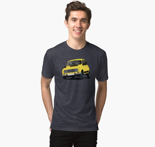 Bright yellow retro Renault 4L T-shirt
