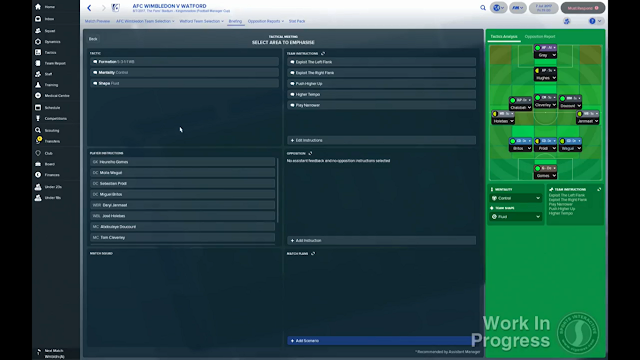 Briefing screen in Football Manager 2018