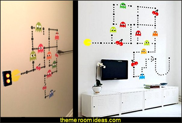 pacman  wall decals  Gamer bedroom - Video game room decor - gamer bedroom furniture - gamer wall decal stickers - Super Mario Brothers Wall Stickers - gamer bedding - Super Mario Brothers bedding - Pacman decor -  Arcade bedrooms -