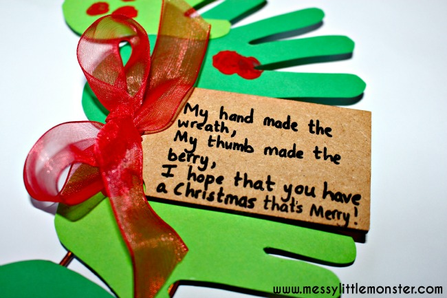 handprint christmas wreath with poem.  Simple christmas craft.