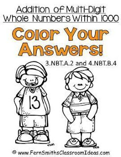 Fern Smith's Classroom Ideas Addition Multi-Digit Whole Numbers Within 1000 - Color Your Answers Printables